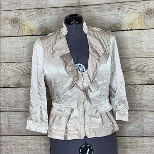 Cream WHBM satiny feel jacket. Size 10. Fun flirty